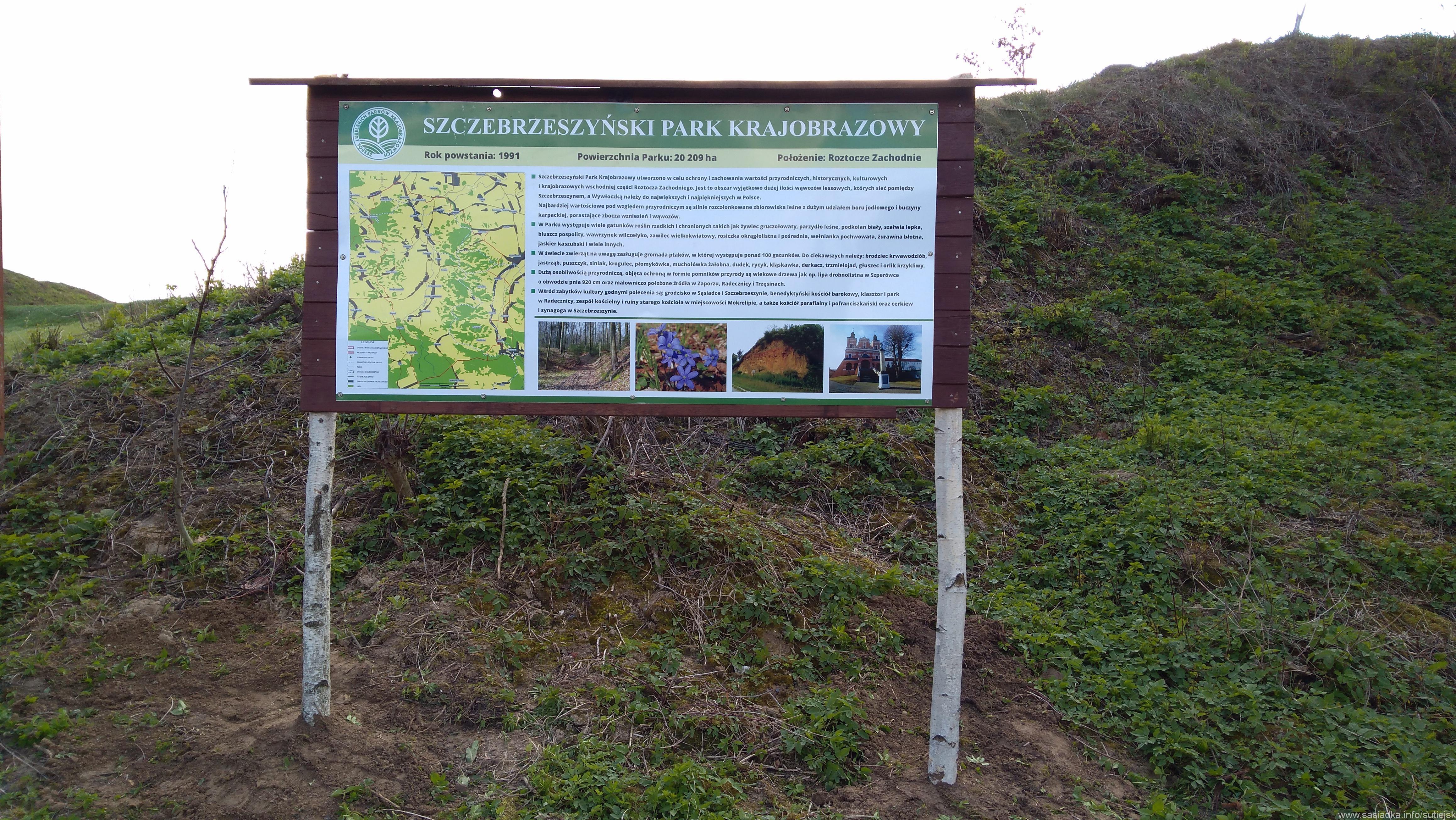 Mapa parku krajobrazowego w Sąsiadce