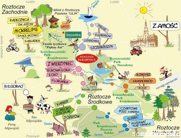 mapa roztocza sas