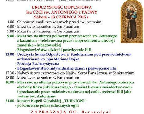 Msze Święte u Antoniego w Radecznicy