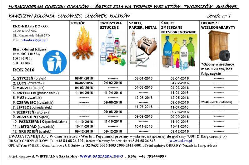 Eko-Kras odbierze śmieci (Nowy harmonogram) w 2016