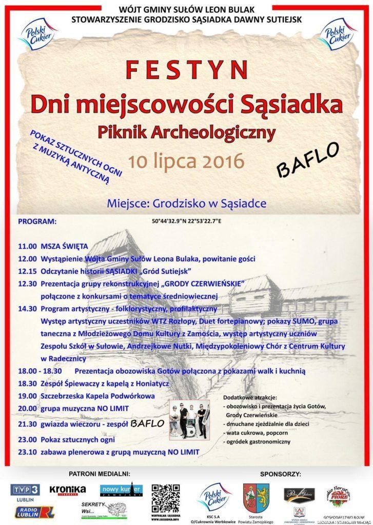 """Festyn Dni miejscowości Sąsiadka """"Gród Sutiejsk"""" - plakat promocyjny"""