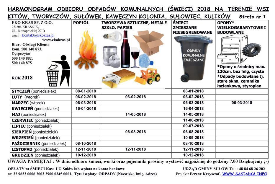 Eko-Kras odbierze odpady komunalne w 2018 roku – harmonogramy