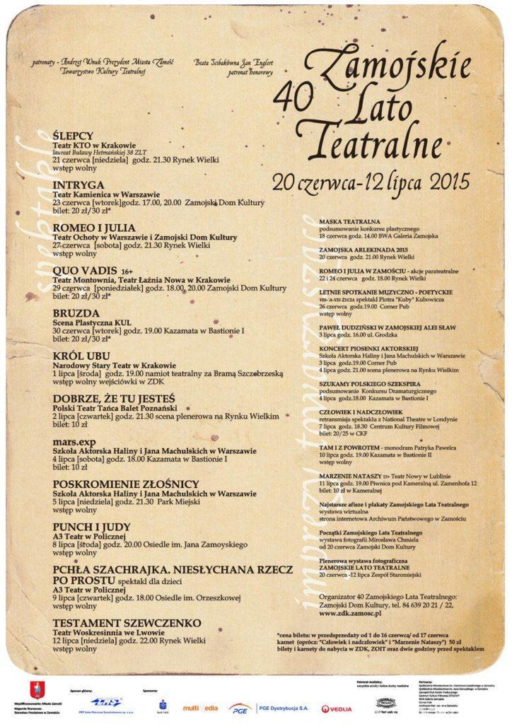 Lista wydarzeń teatralnych